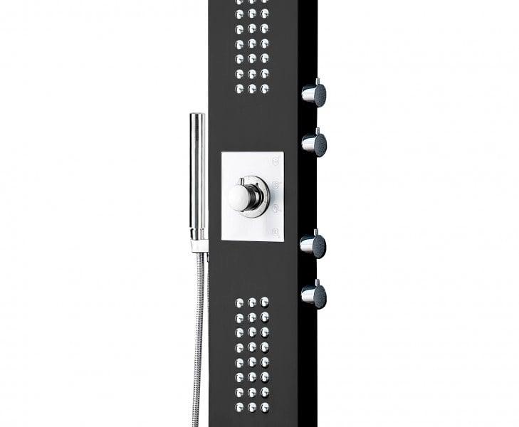 Duschpaneel Edelstahl Schwarz Duschsystem mit SEDAL-Thermostat Duschsäule 8815