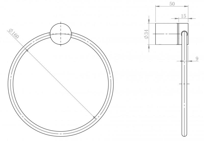 Hochwertiger Handtuchring SDVHR Design rund - Serie VERSA - chrom zoom thumbnail 3