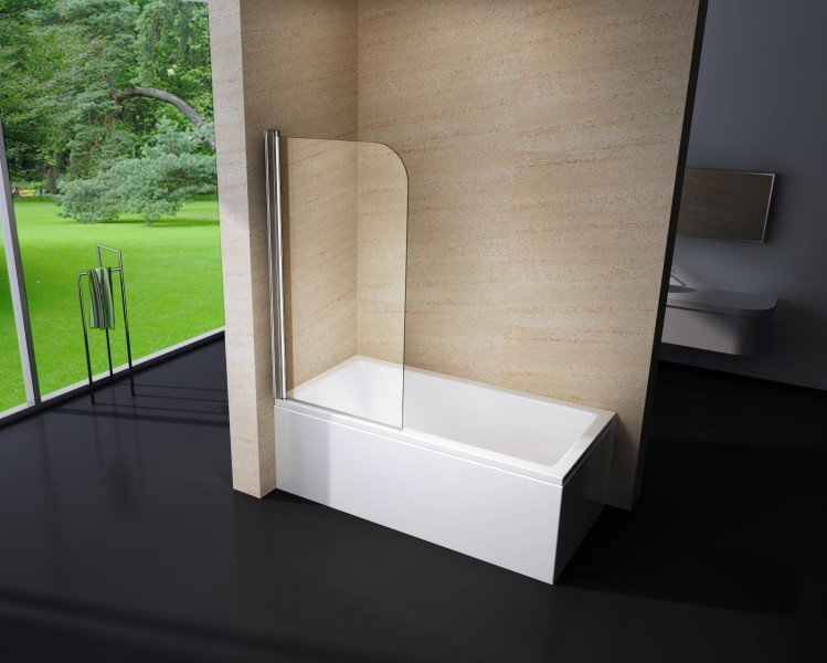 Duschabtrennung Duschwand Badewanne Nano Echtglas EX201 - 800 x 1400 x 6 mm