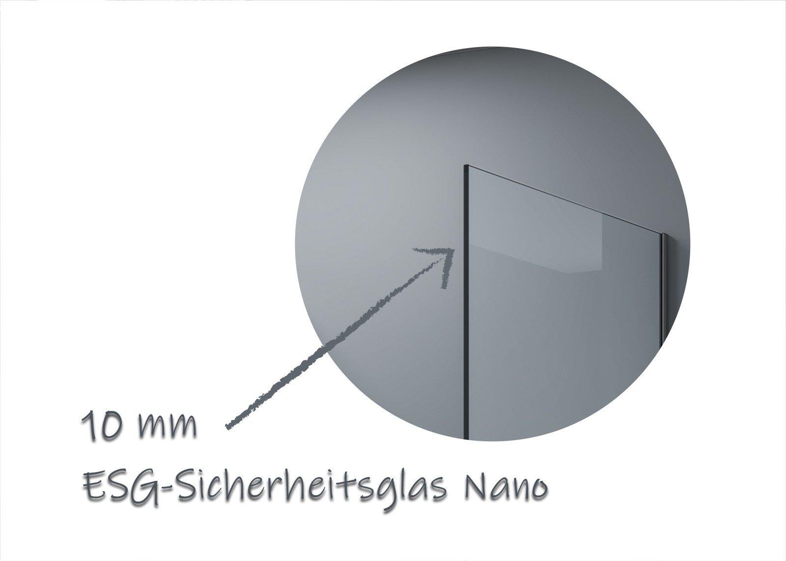 Walk-In 10mm Nano Echtglas EX102 - Klarglas - 2 Glaswände & 14mm Edelstahlprofil - Profilfarbe & Breite wählbar zoom thumbnail 6