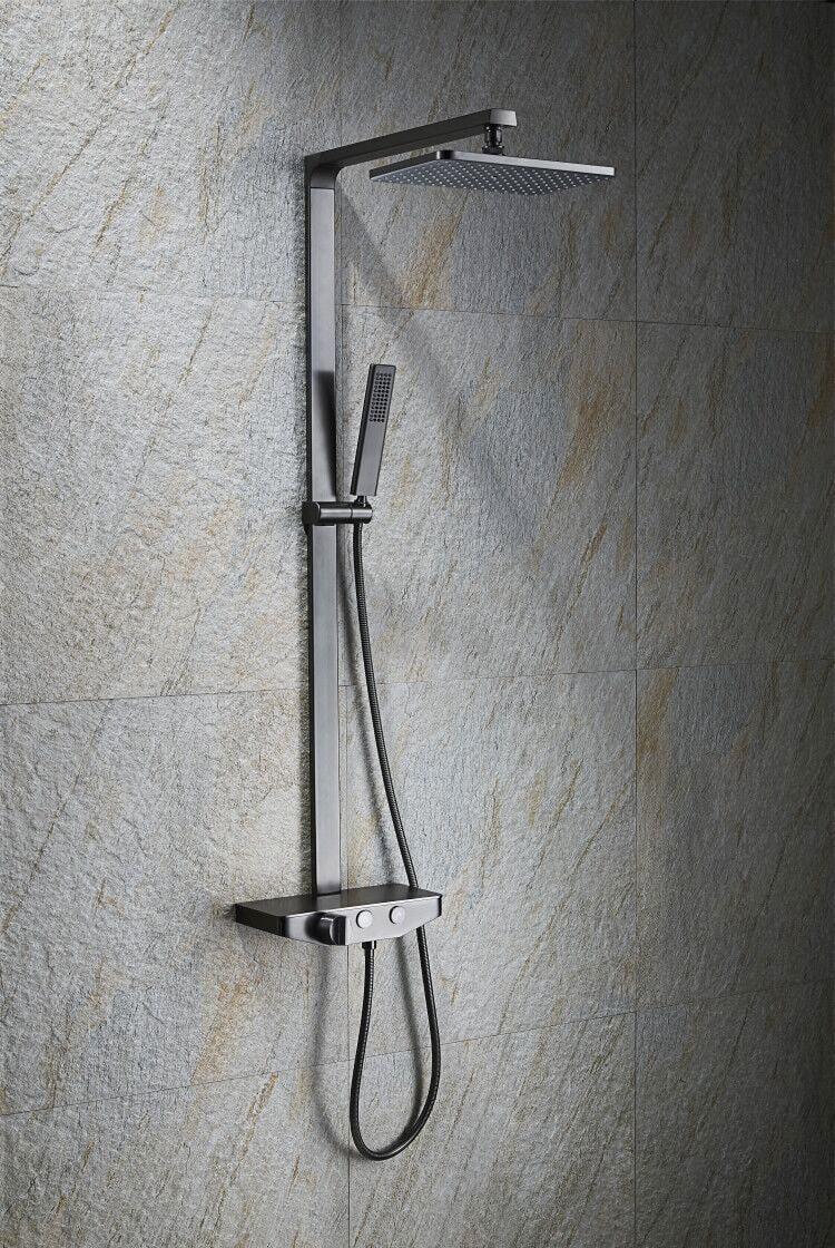 Duschsäule NT7385 mit Ablage - Duschsystem inkl. Handbrause & Duschschlauch - Farbe wählbar