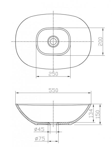 Aufsatzbecken Aufsatz-Waschbecken oval PB2202 - 55 x 40 x 15 cm zoom thumbnail 3