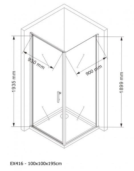 Duschkabine Eckdusche 8 mm Nano Echtglas EX416 - 100 x 100 x 195 cm inkl. Duschtasse zoom thumbnail 5