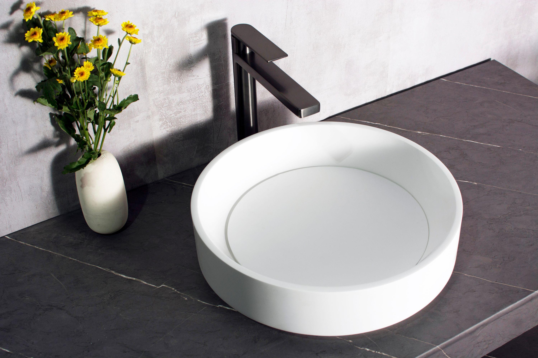 Aufsatzwaschbecken NT2430 aus Mineralguss - 42 x 42 x 11 cm - Weiß matt