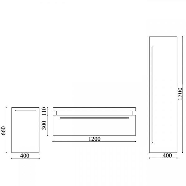 Badmöbel-Set N1200 Weiß - Spiegel und Seitenschränke optional zoom thumbnail 4