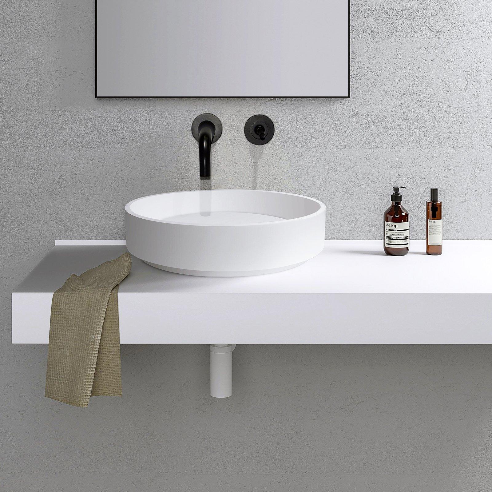 Aufsatzwaschbecken NT2430 aus Mineralguss - 42 x 42 x 11 cm - Weiß matt zoom thumbnail 5