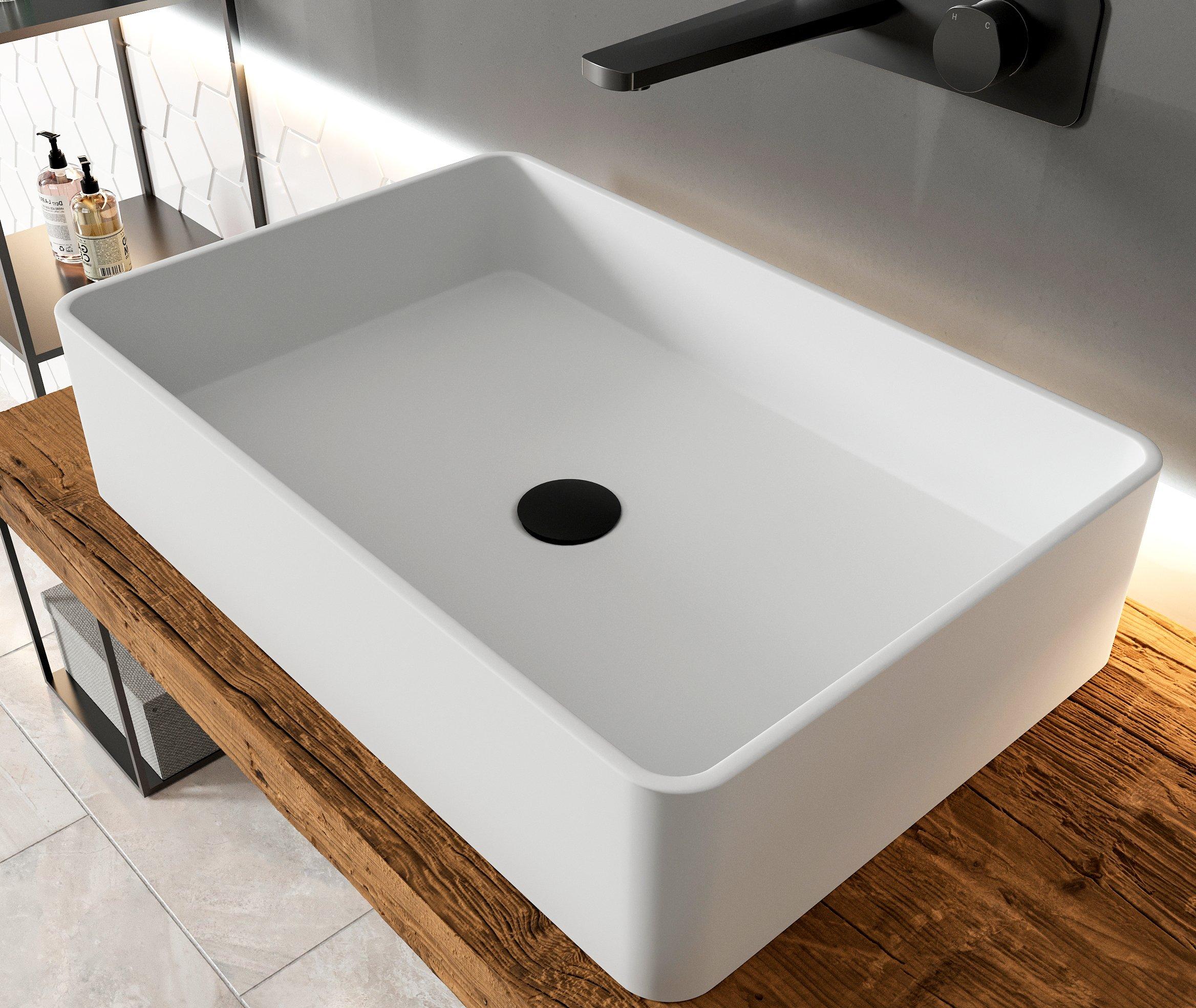 Aufsatzbecken Aufsatz-Waschbecken Rechteck PB2012 - Design geradlinig - 60 x 40 x 15 cm zoom thumbnail 4