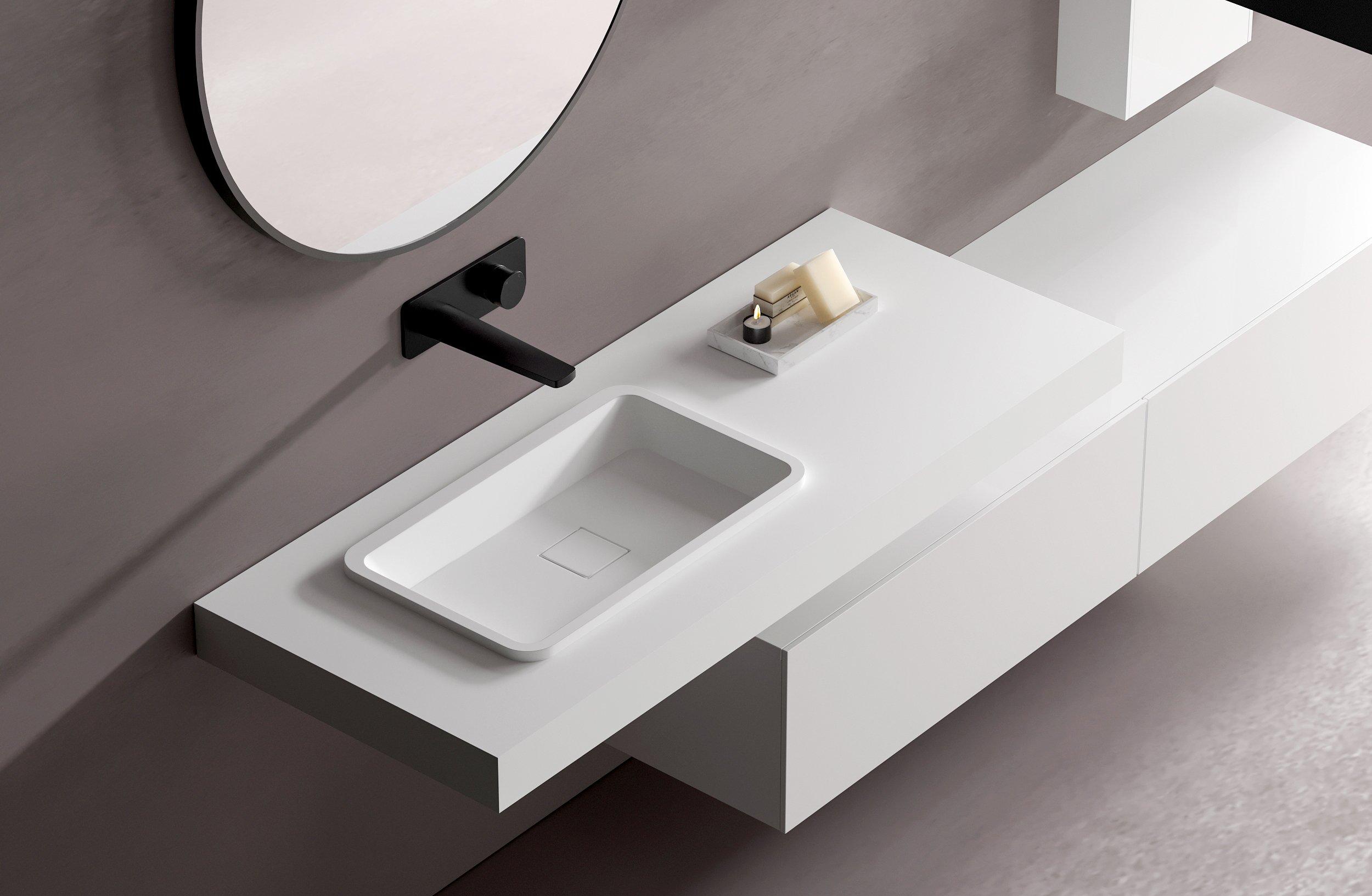 Counterboard B30 aus Mineralguss in Weiß matt - Breite wählbar