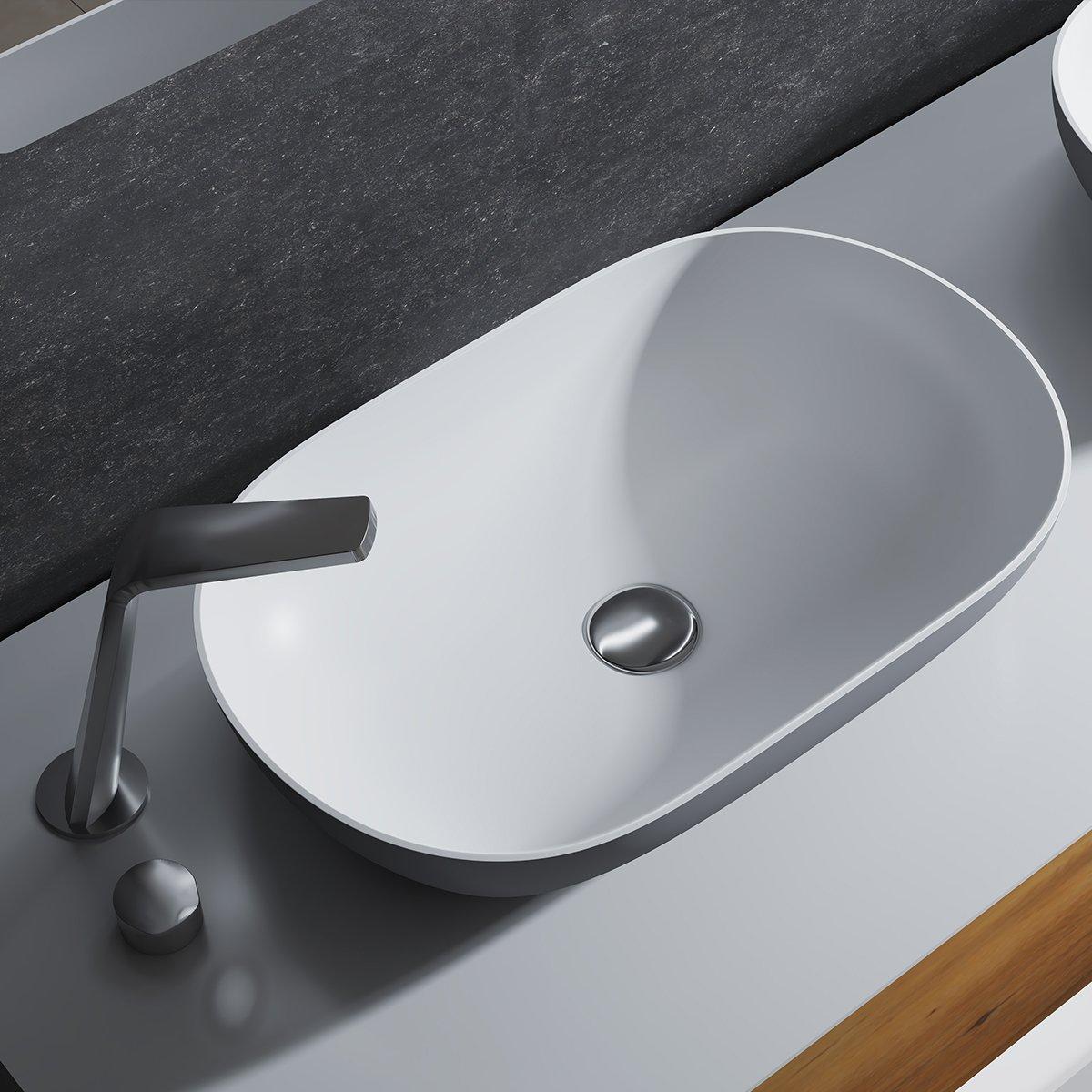 Aufsatzwaschbecken O-540 aus Mineralguss - Grau/Weiß - 54 x 34 x 12 cm zoom thumbnail 4