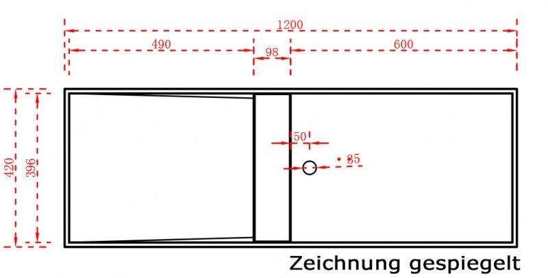 Aufsatzwaschbecken Wandwaschbecken TWG06 aus Mineralguss Solid Stone - 120 x 42 x 20 cm zoom thumbnail 6