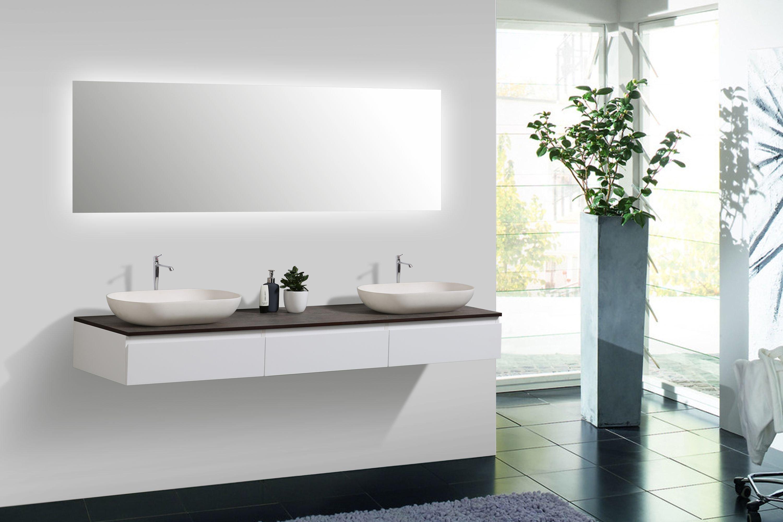 Badmöbel Vision 1800 Weiß matt - Spiegel und Aufsatzwaschbecken optional