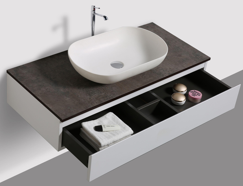 Badmöbel Vision 800 Weiß matt - Spiegel und Aufsatzwaschbecken optional zoom thumbnail 3
