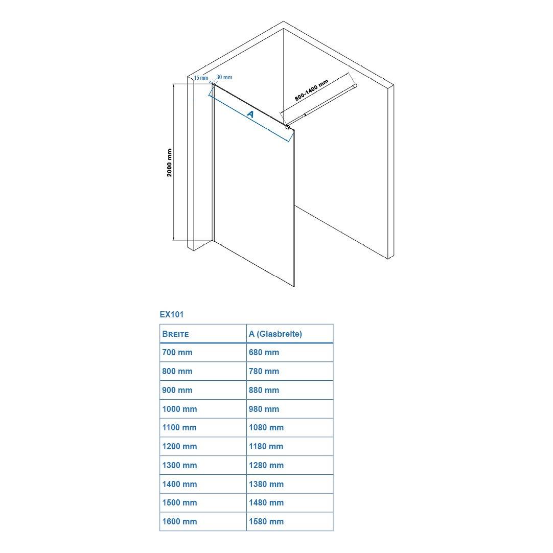 Duschabtrennung Walk-In Nano Echtglas EX101 - Milchglas - Breite wählbar zoom thumbnail 6