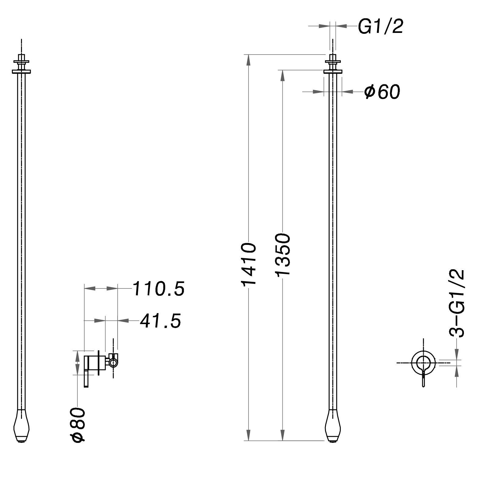 Waschtisch Deckenarmatur DROP 135 mit Eingriffmischer - Länge 135 cm - Farbe Chrom & Schwarz matt wählbar zoom thumbnail 5