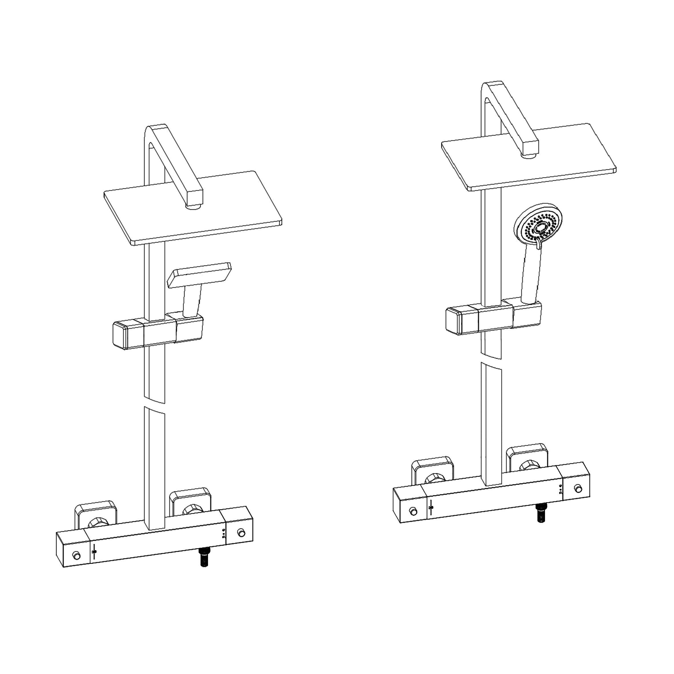 Design-Duschsäule Thermostat 3011 Basic inkl. Handbrause - Auswahl Duschkopf eckig & rund zoom thumbnail 6