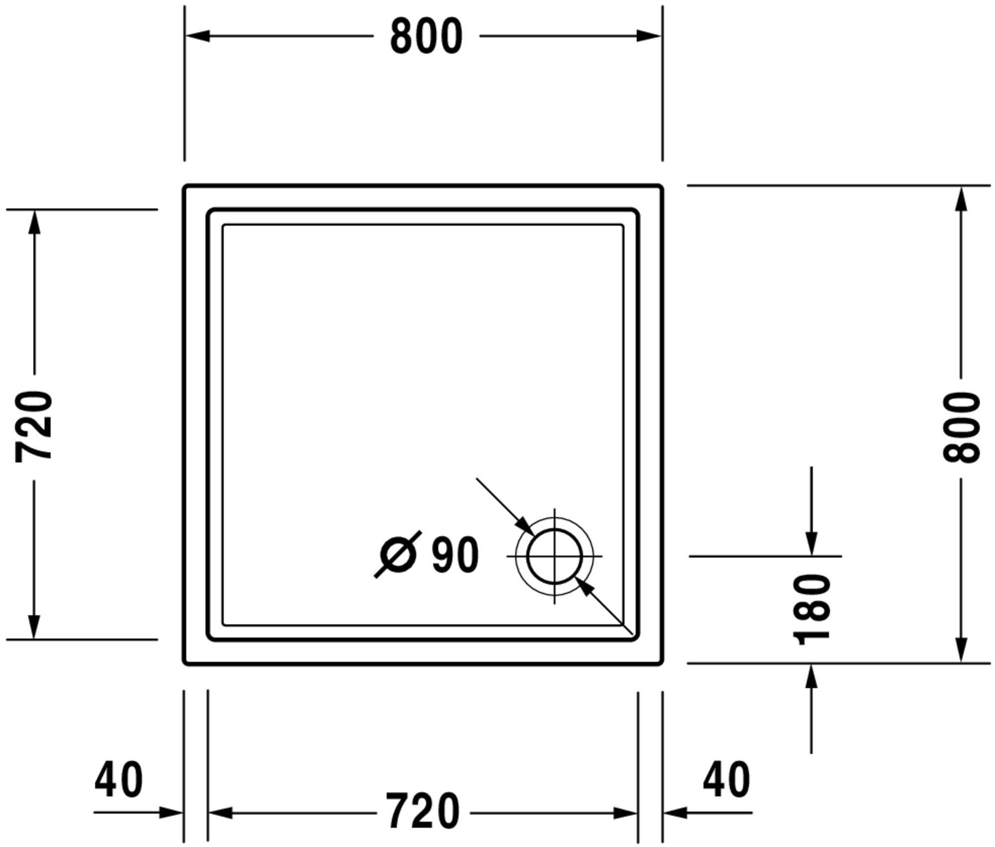 Duravit Starck Slimline Duschwanne Weiß  800 zoom thumbnail 6