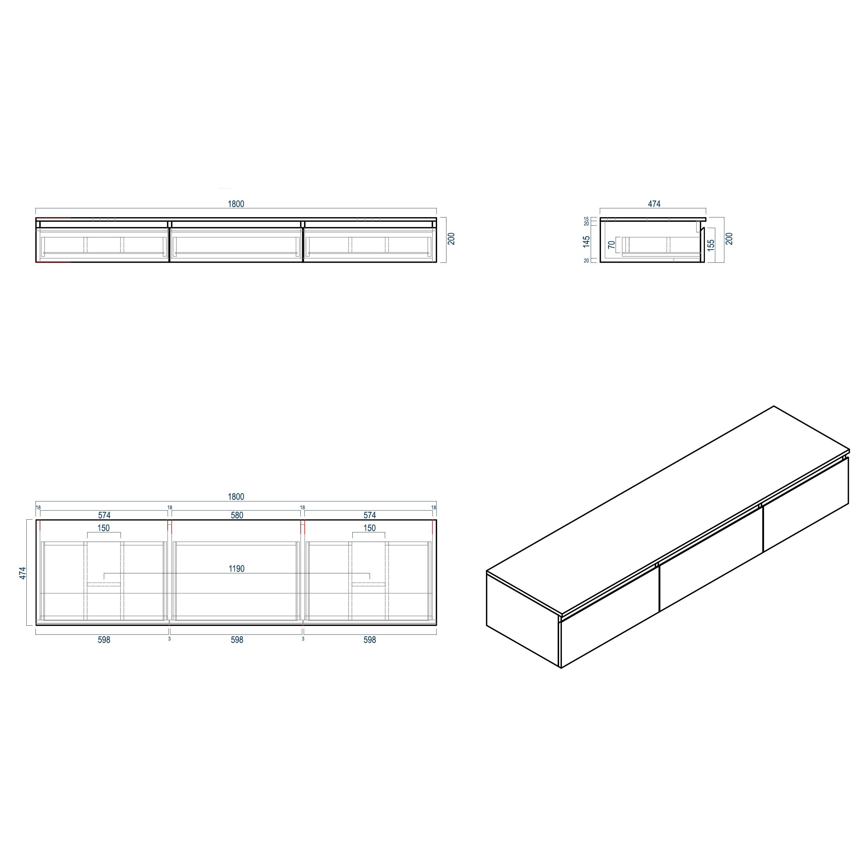 Badmöbel Vision 1800 Weiß matt - Spiegel und Aufsatzwaschbecken optional zoom thumbnail 5