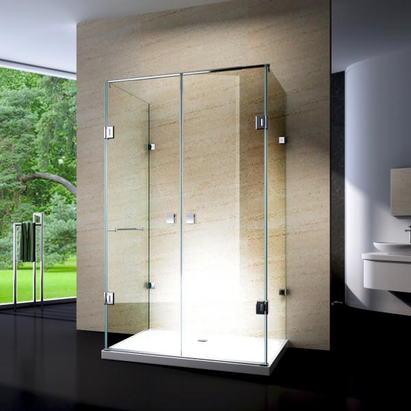 Duschkabine U-Form 8 mm Nano Echtglas EX412 - 120 x 90 x 195 cm