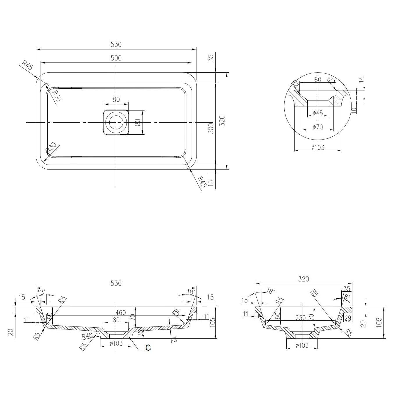 Mineralguss Einbaubecken Einbau-Waschbecken PB2129 - 53x32x10,5cm - Pure Acrylic zoom thumbnail 5