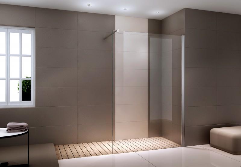 Duschabtrennung Walk-In Dusche Nano Echtglas EX101 - 8mm - Klarglas - Breite wählbar