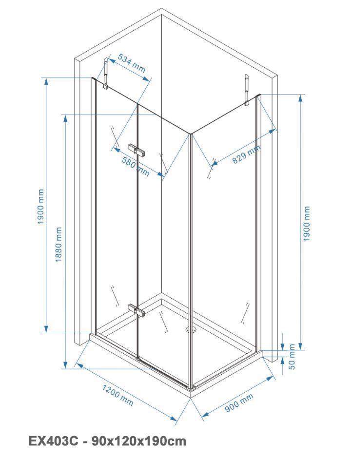 Duschkabine Eckdusche EX403C 6mm NANO Echtglas - 90x120x190cm  zoom thumbnail 6