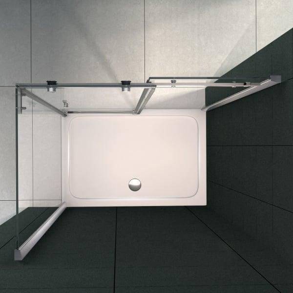 Eckdusche mit Schiebetür EX802 - 90 x 140 x 195cm - Glasstärke & Duschtasse wählbar zoom thumbnail 3