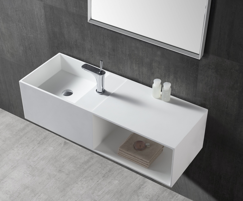 Wandwaschbecken Aufsatzwaschbecken TWG36 aus Mineralguss Solid Stone mit Ablagefach - 110x40x30cm
