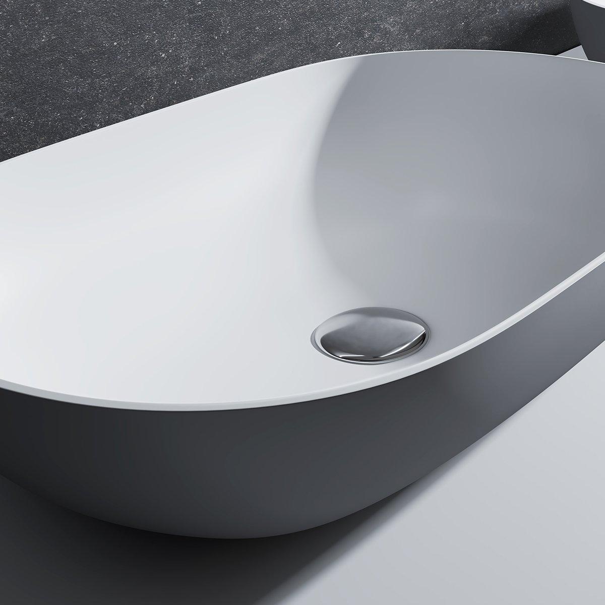 Aufsatzwaschbecken O-540 aus Mineralguss - Grau/Weiß - 54 x 34 x 12 cm zoom thumbnail 3