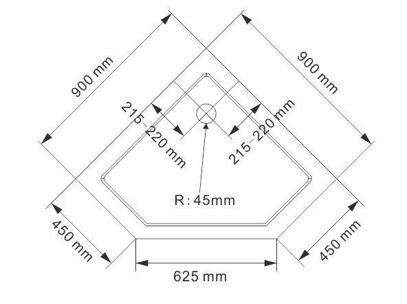 Duschkabine Fünfeckdusche Nano Echtglas EX415 - 90 x 90 x 195 cm inkl. Duschtasse zoom thumbnail 5