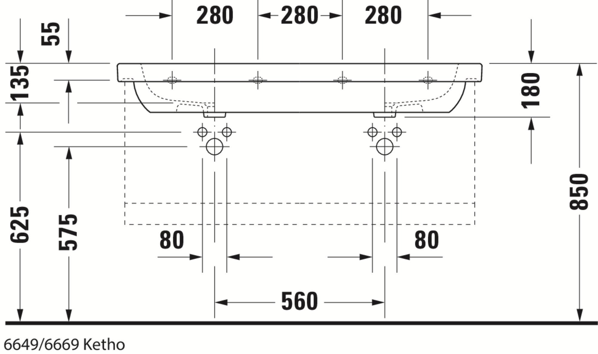 Duravit Ketho Badmöbel Set 1150 mit D-Code Doppel-Waschtisch - Optional mit Seitenschrank und Spiegel  zoom thumbnail 5