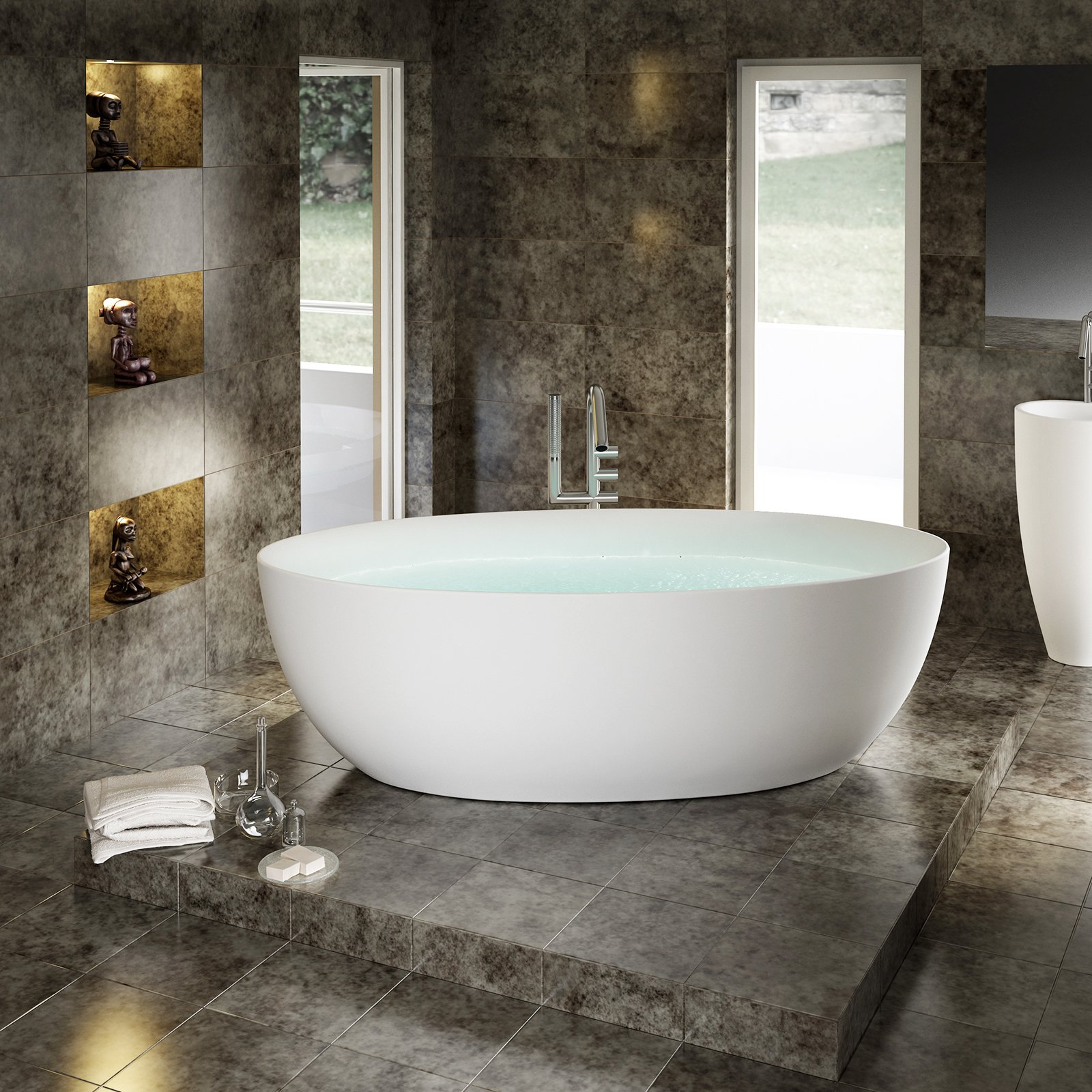 Freistehende Badewanne TERRA Acryl - 186 x 88 cm - Weiß glänzend zoom thumbnail 4