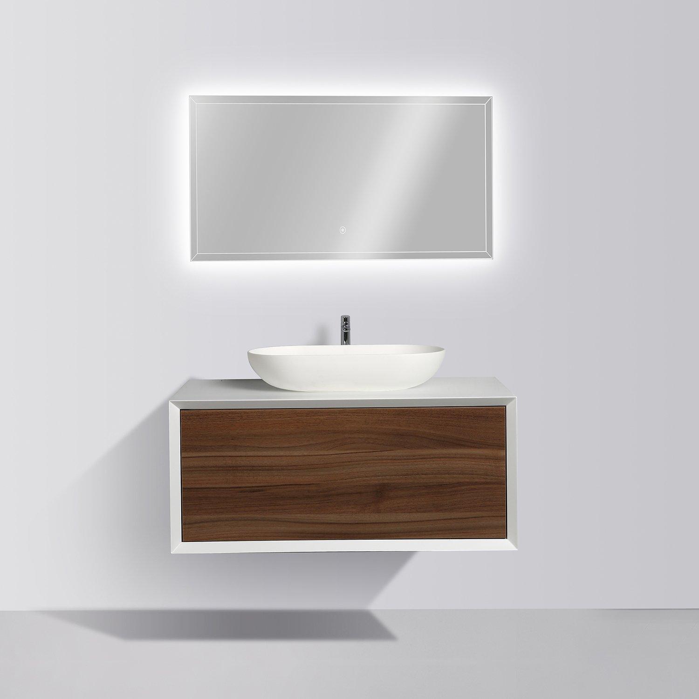 Badmöbel Fiona 900 Weiß matt - Front in Walnuss-Optik - Spiegel und Aufsatzwaschbecken optional