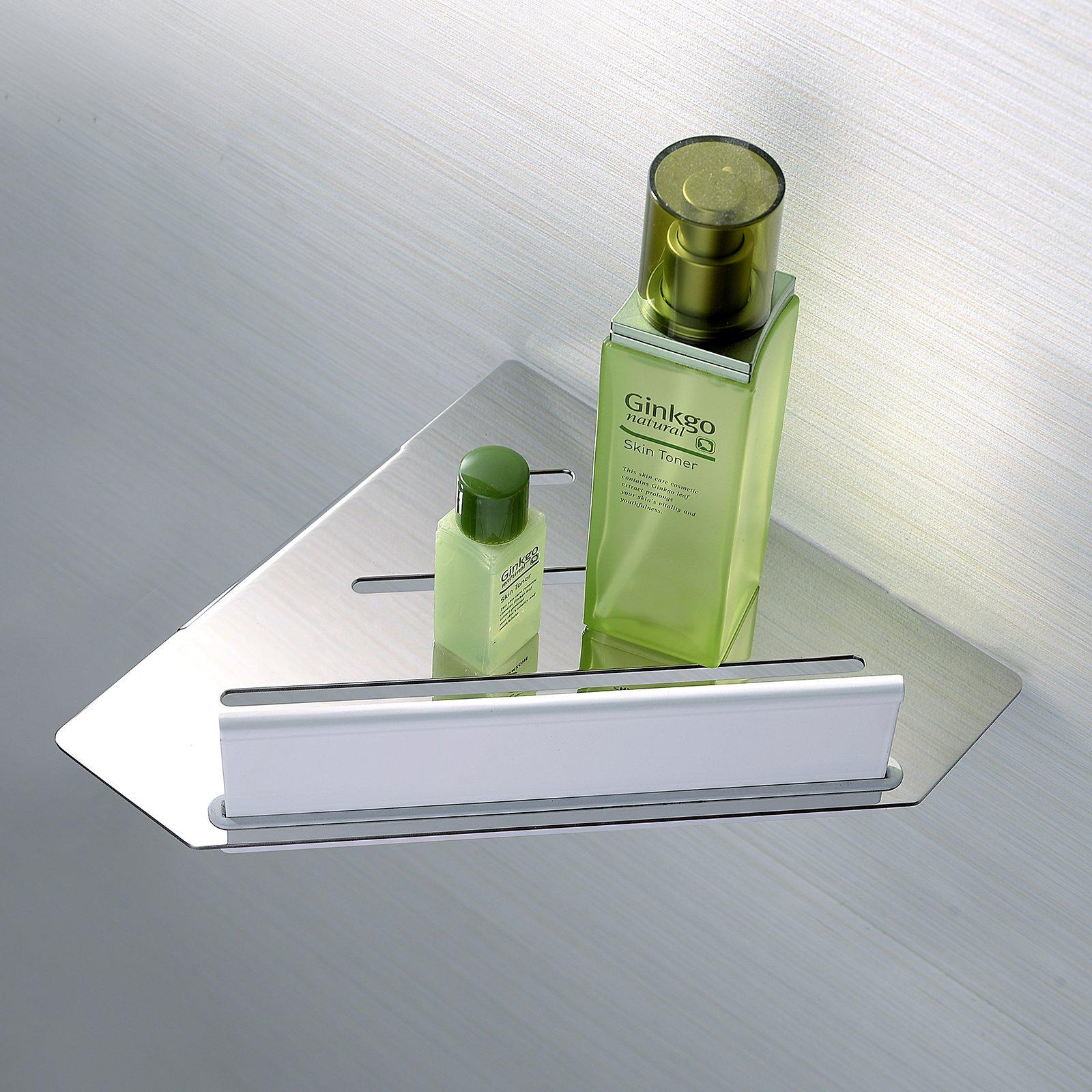 Eck-Duschablage DA909 Edelstahl mit Duschabzieher - Farbe Chrom und Schwarz matt wählbar