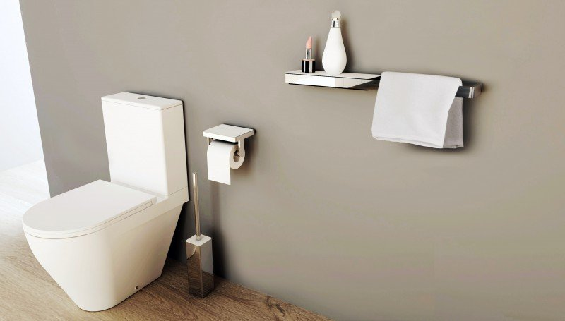 Edler Toilettenpapierhalter SDLTPH aus Messing - Serie LINEAR - chrom