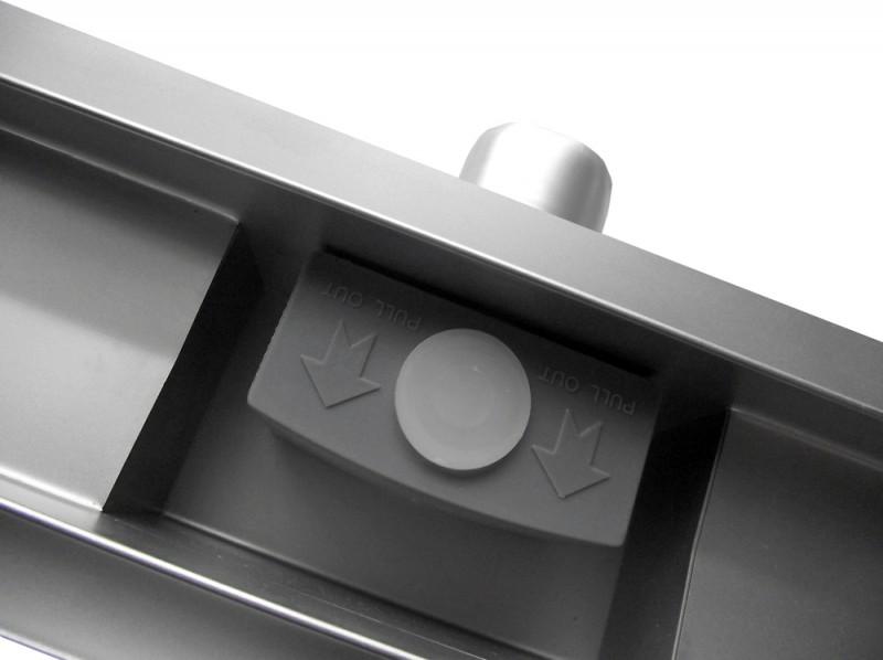 Edelstahl Duschrinne GL01 für Duschkabine - Ablaufblende Glas schwarz - Länge wählbar