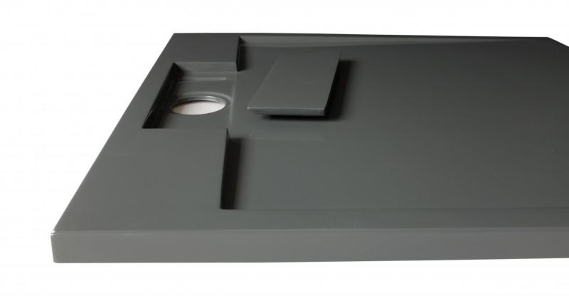 Mineralguss Duschtasse quadratisch M9090CG / PB3087GG - Grau glänzend - 90x90x3,5cm zoom thumbnail 4