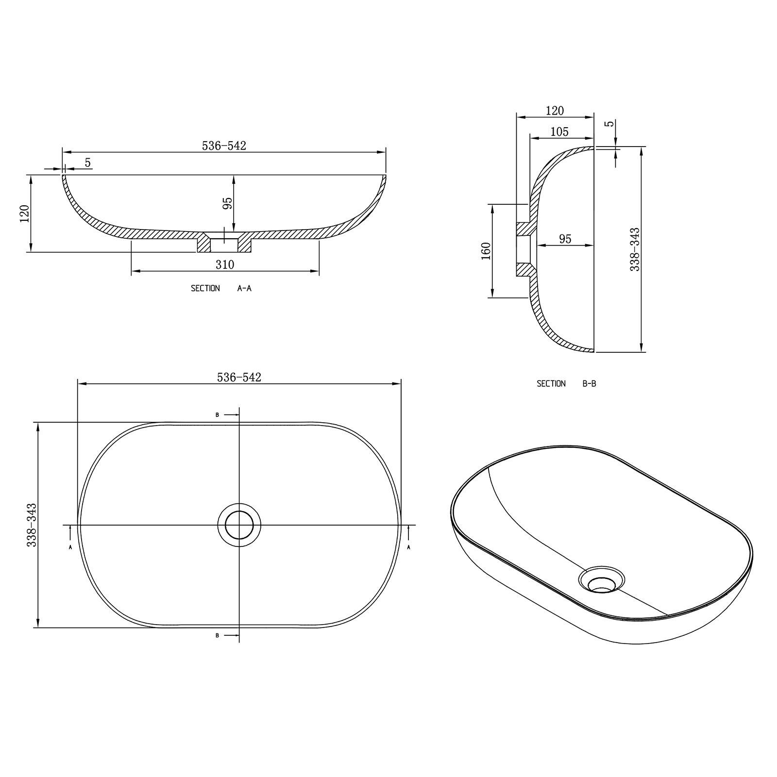 Aufsatzwaschbecken O-540 aus Mineralguss - Grau/Weiß - 54 x 34 x 12 cm zoom thumbnail 5