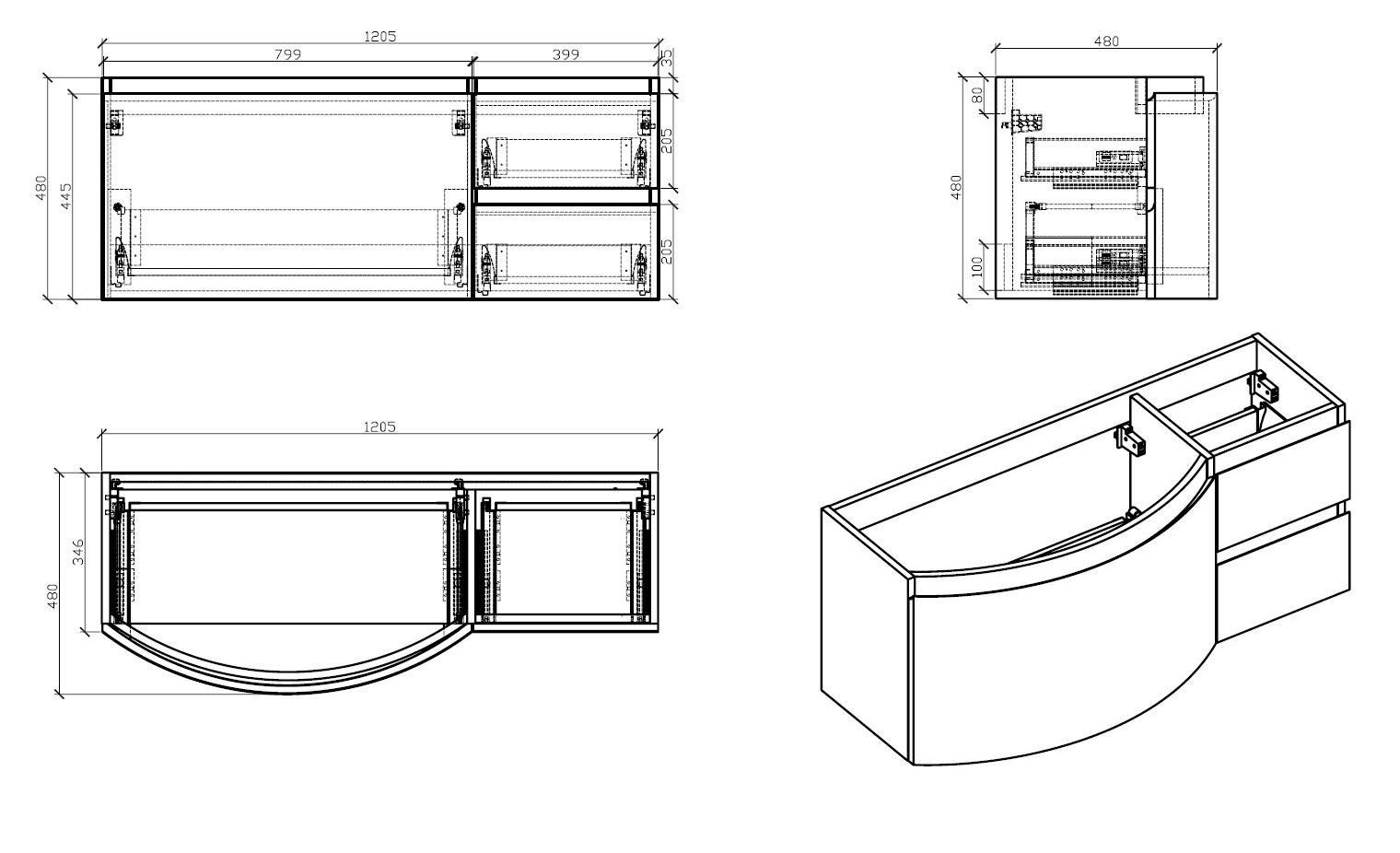 Badmöbel Set LAURANCE 1200 Weiß Hochglanz - geschwungene Form zoom thumbnail 3
