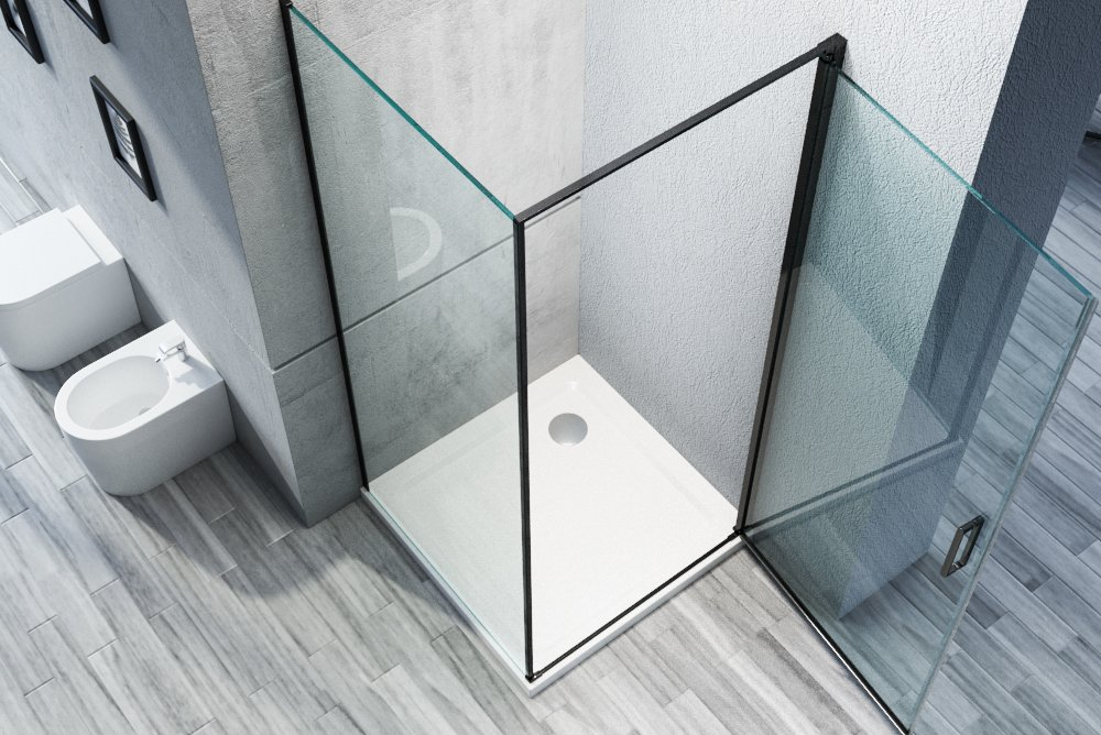 Duschkabine Eckdusche Nano 8mm Echtglas NT416 - Profilfarbe & Breite wählbar