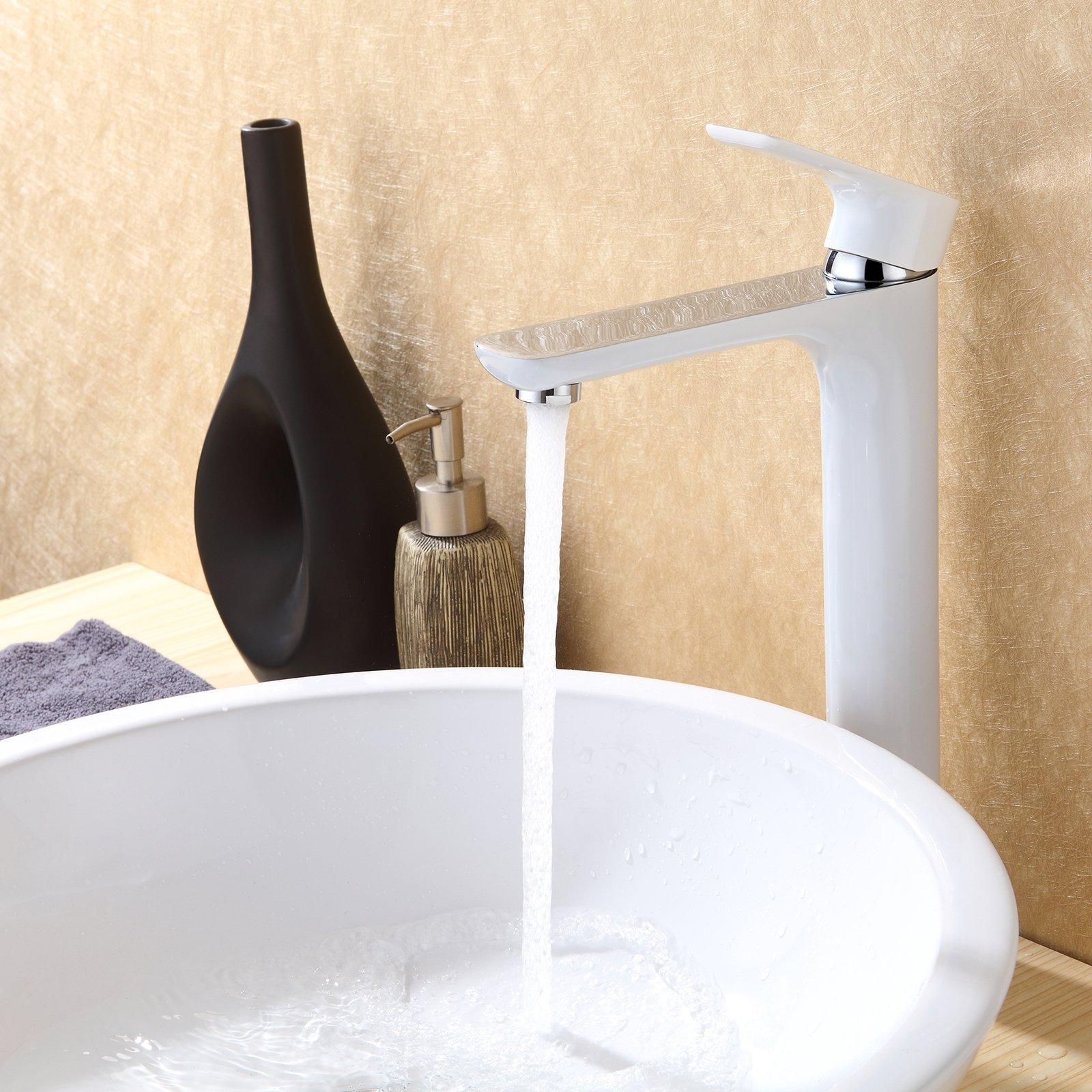 Hochwertige Waschtischarmatur Armatur Badarmatur 4025CW in Weiß/Chrom Glänzend zoom thumbnail 3