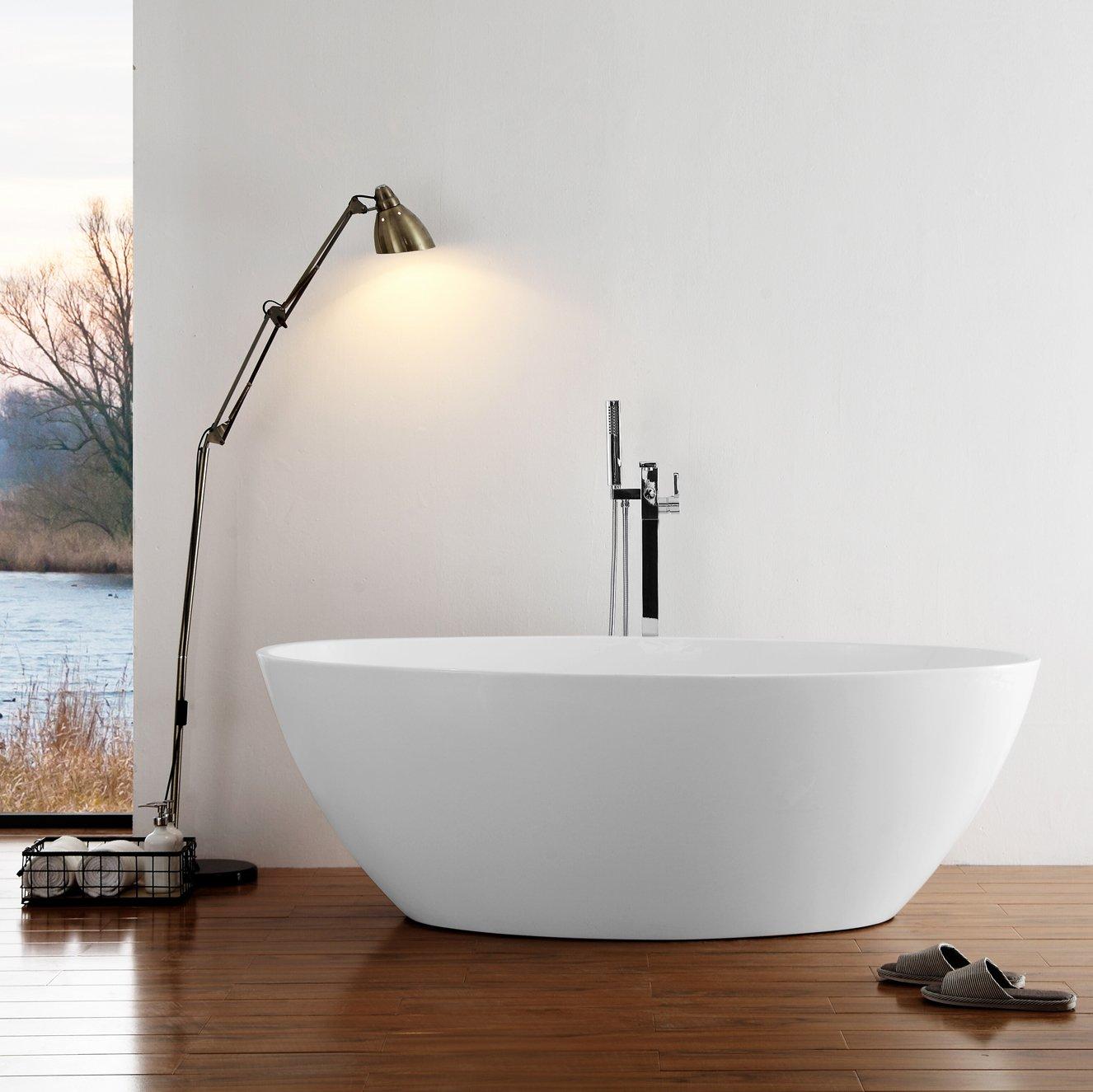 Freistehende Badewanne DESTINO Acryl weiß - 175x100cm - Armatur optional