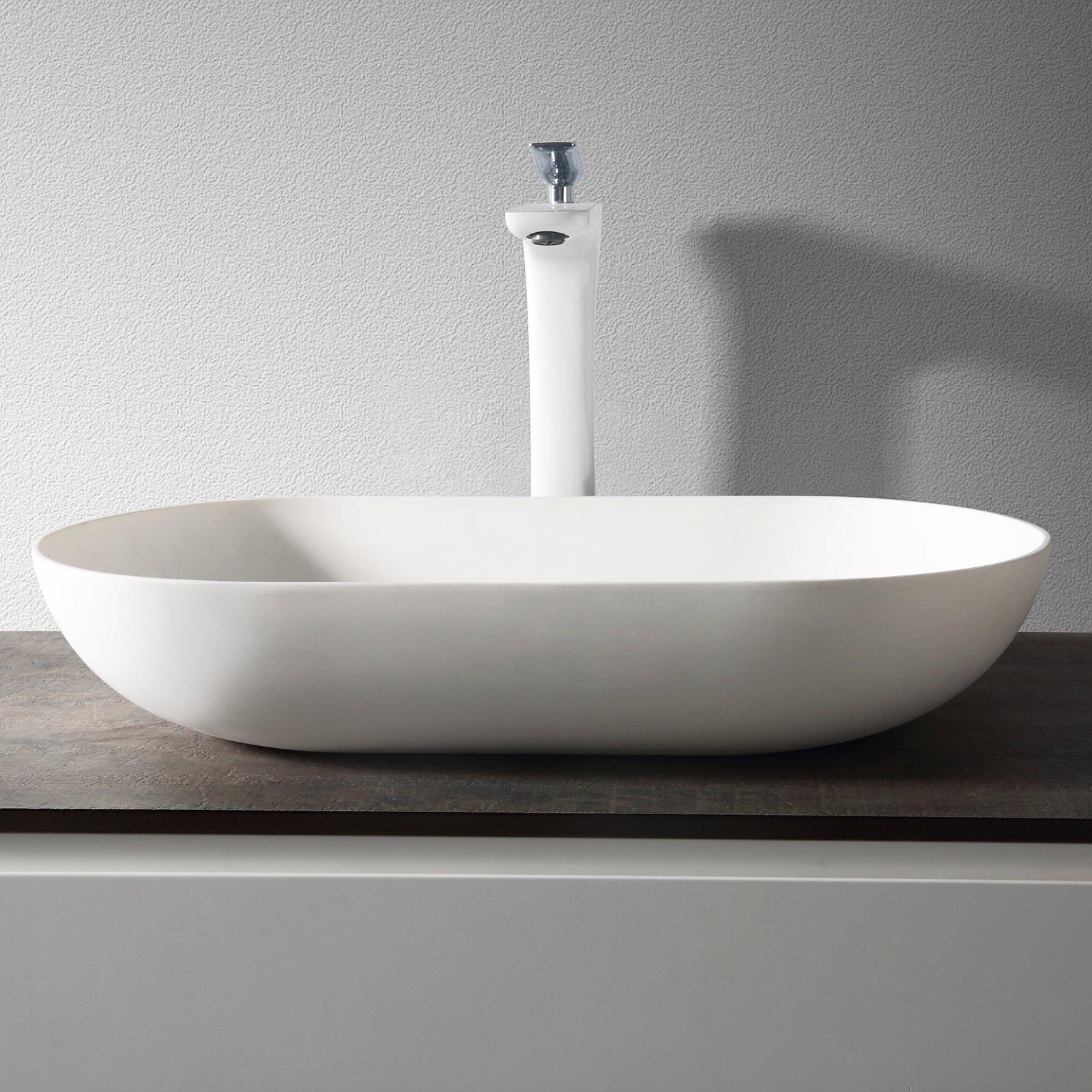 Aufsatzwaschbecken O-540 aus Mineralguss - Weiß matt - 54 x 34 x 10,5 cm zoom thumbnail 3