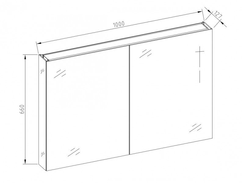 Aluminium-Spiegelschrank 2-türig - innen und außen Spiegel - 100 x 66 x 12 cm zoom thumbnail 5