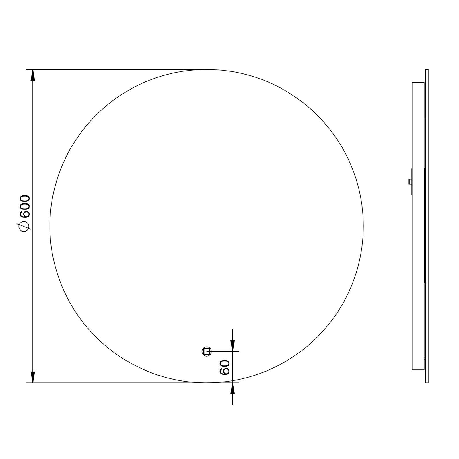 LED Lichtspiegel Badspiegel 2712 mit Spiegelheizung & Warm-/Kaltlichteinstellung - Rund Ø 60 cm