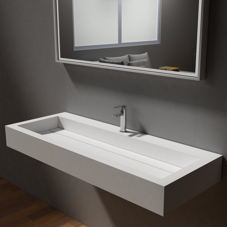 Aufsatzwaschbecken Wandwaschbecken PB2079 aus Mineralguss - 120 x 46 x 13 cm - Weiß Matt