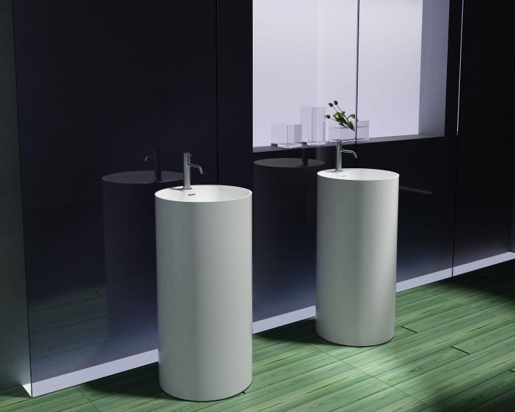 Freistehendes Waschbecken aus Mineralguss inkl. Armaturloch PB2021 weiß - 45 x 90 cm - Solid Stone