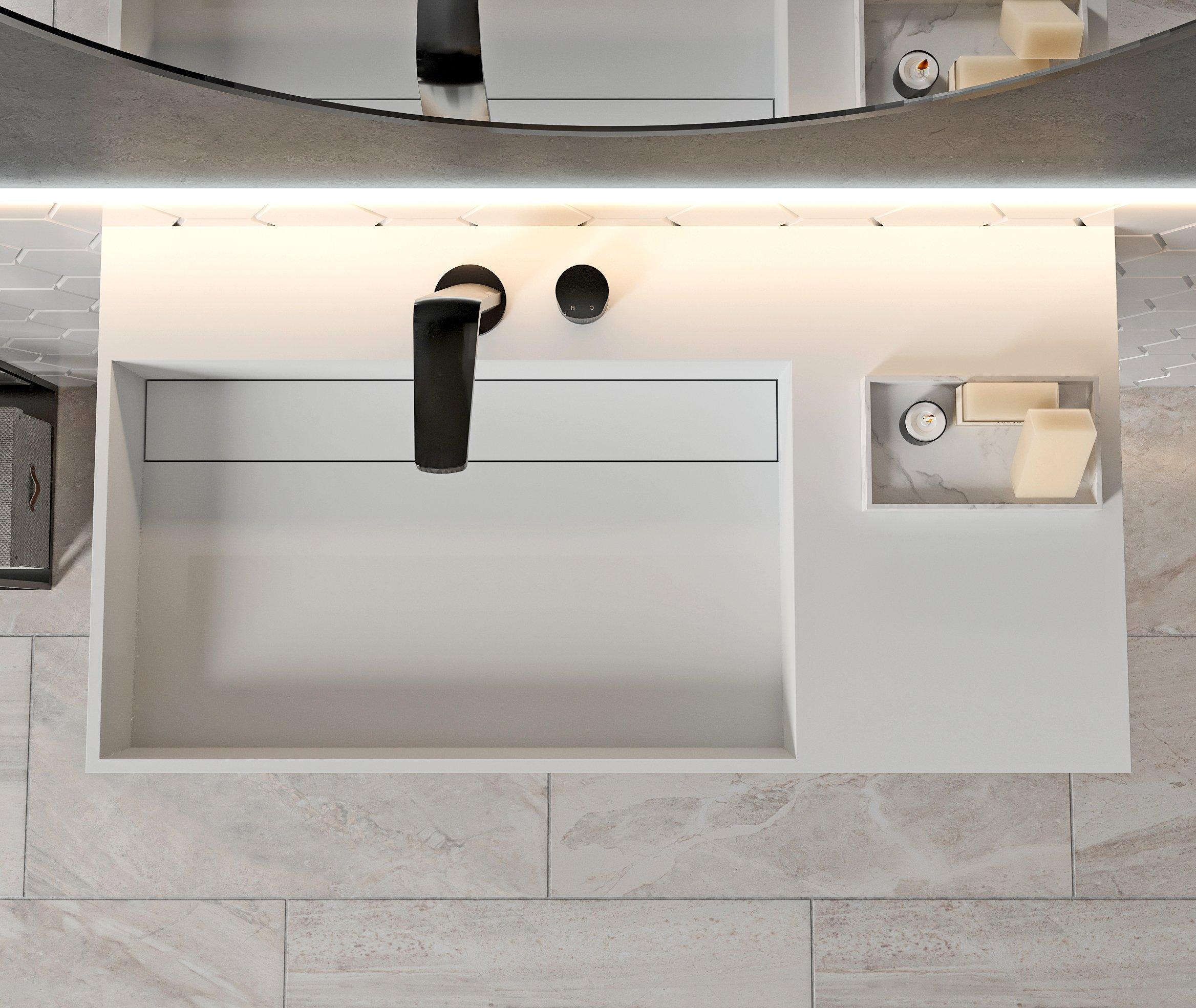 Wandwaschbecken aus Mineralguss PB2015 weiß - Solid Stone - 90 x 48 x 13 cm