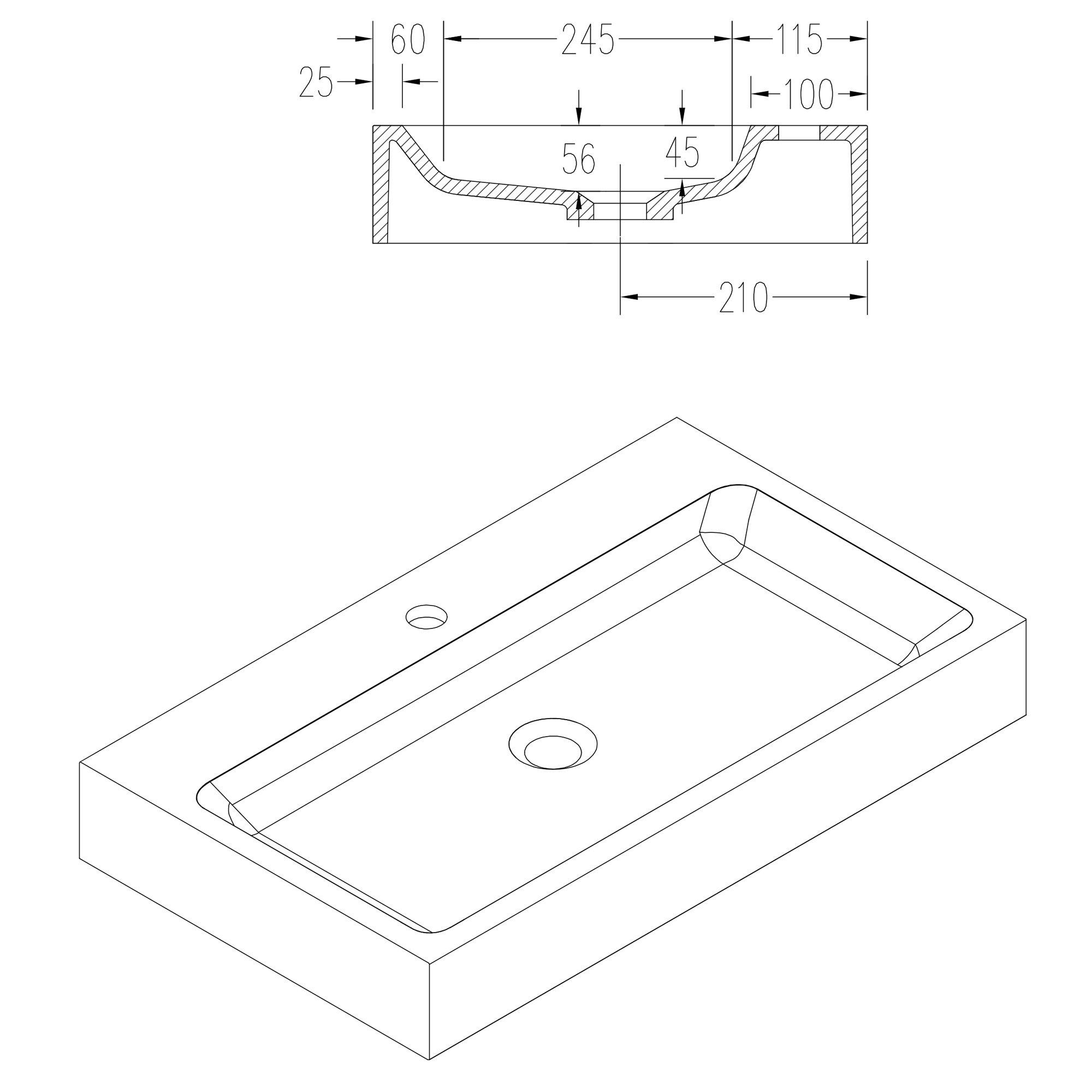 Waschbecken Aufsatzwaschbecken PB2143 aus Solid Stone Mineralguss – Weiß Matt – 80 x 42 x 10 cm zoom thumbnail 6