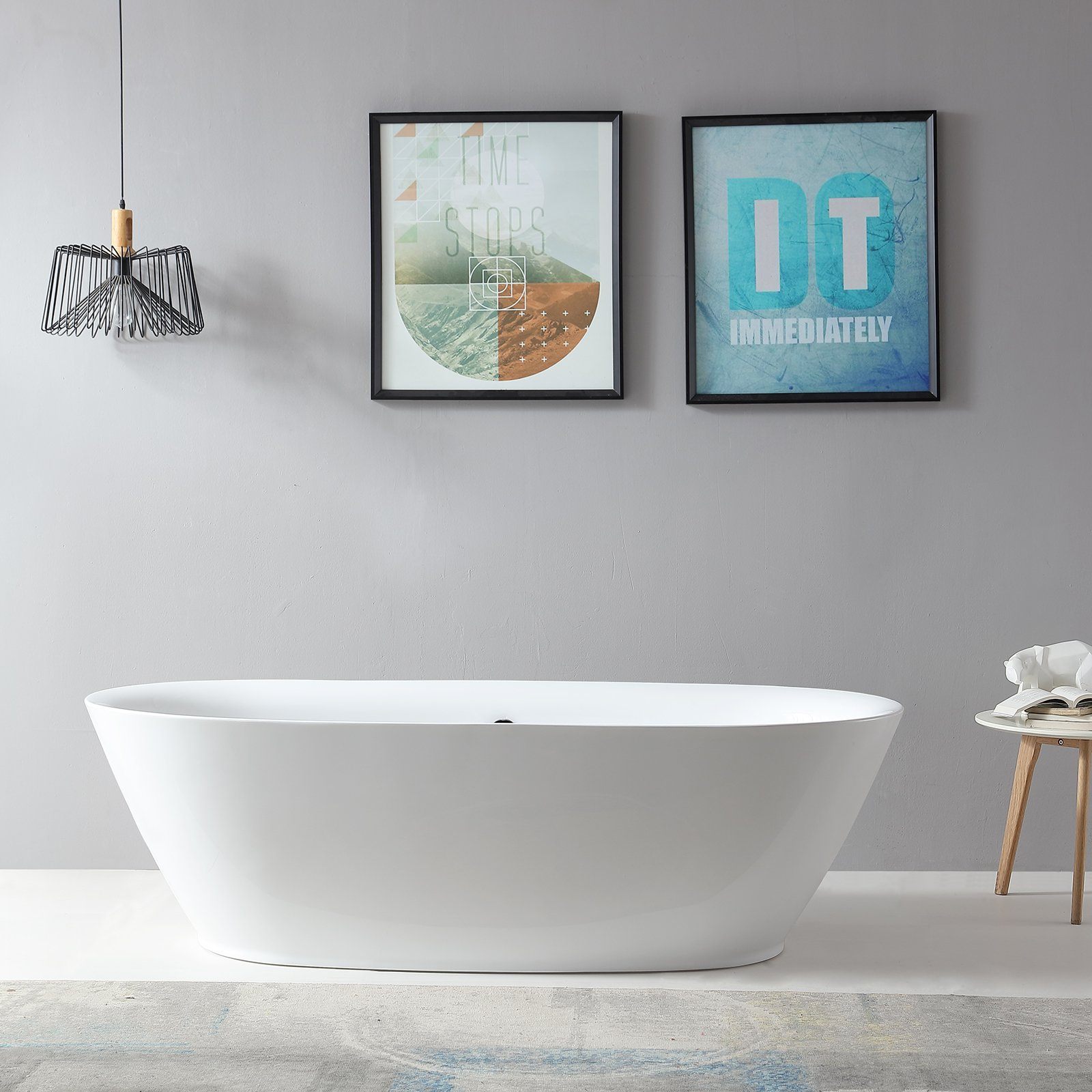 Freistehende Badewanne ROMA ACRYL weiß BS-916 180x84 inkl. Ab/ Überlauf zoom thumbnail 3