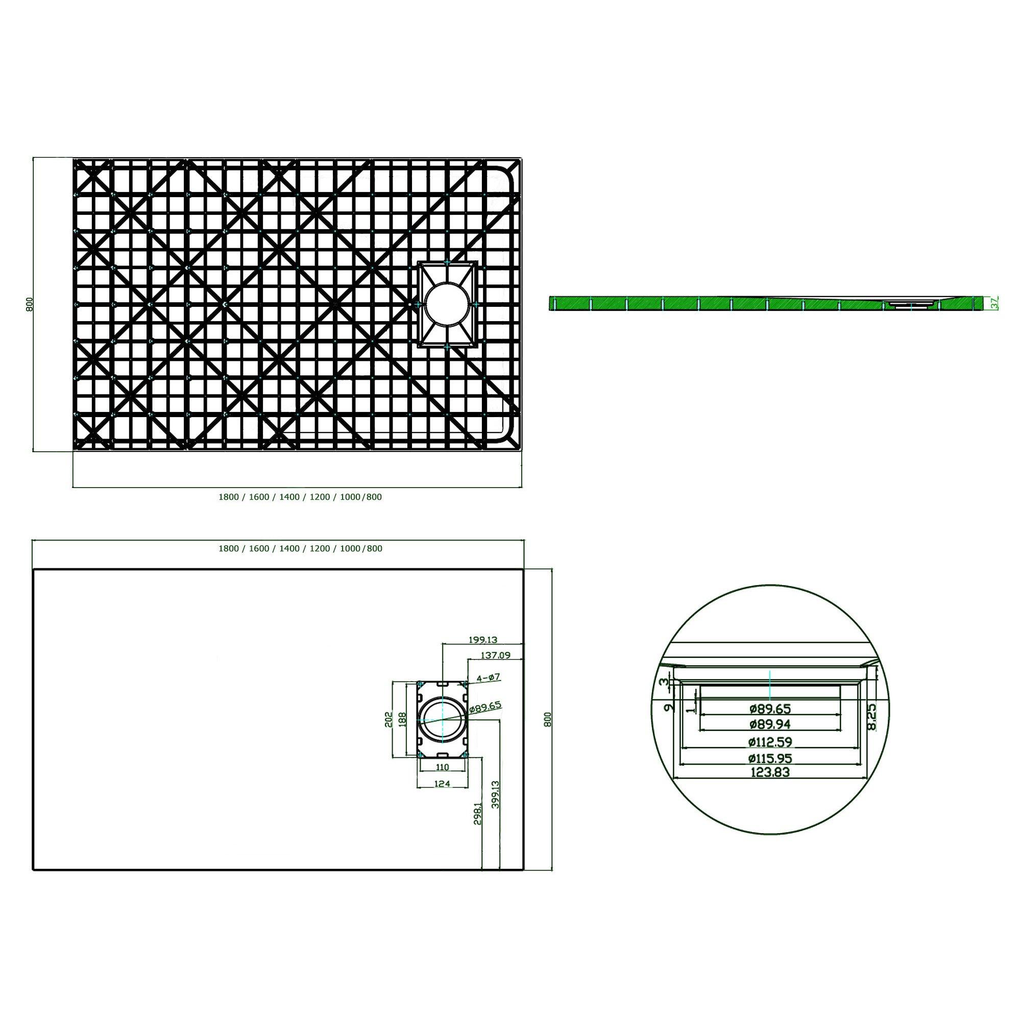 Duschtasse Duschwanne rechteckig GT-Serie aus SMC - Breite 80 cm - Größe und Zubehör wählbar zoom thumbnail 5